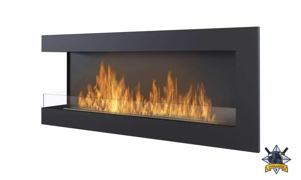 sin humo y termoestabilidad chimenea de gas integrada en la pared Chimenea de bioetanol empotrada de 47 pulgadas para montar en la pared con quemador doble sin ventilaci/ón