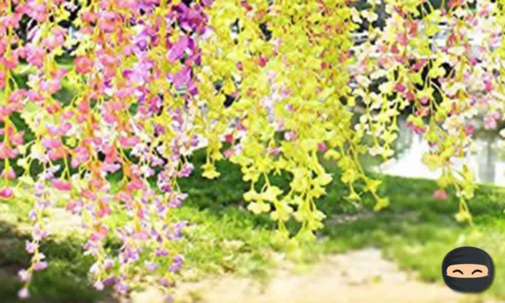 Guirnaldas artificiales para un jardín bonito